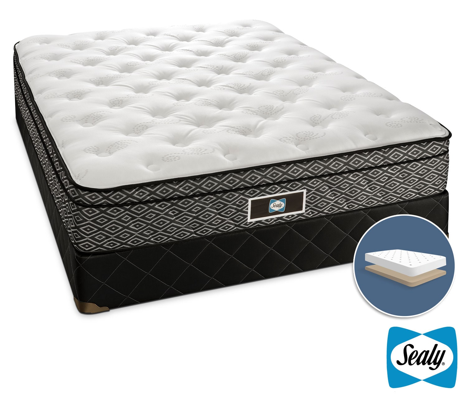 Sealy Nero Cushion Firm Queen Mattress/Low-Profile Boxspring Set