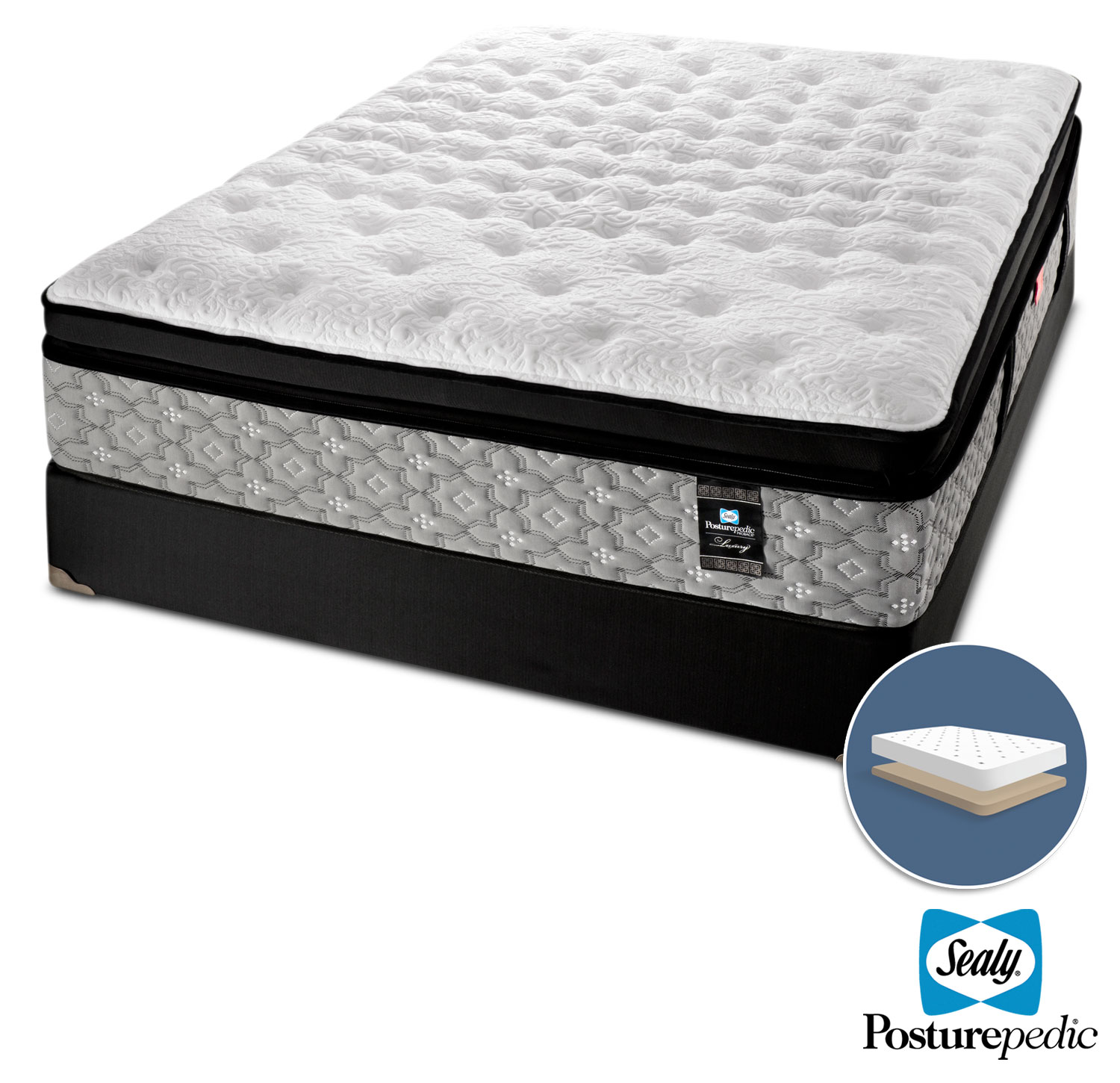 Mattresses and Bedding - Sealy Epic Plush Queen Mattress and Low-Profile Boxspring Set