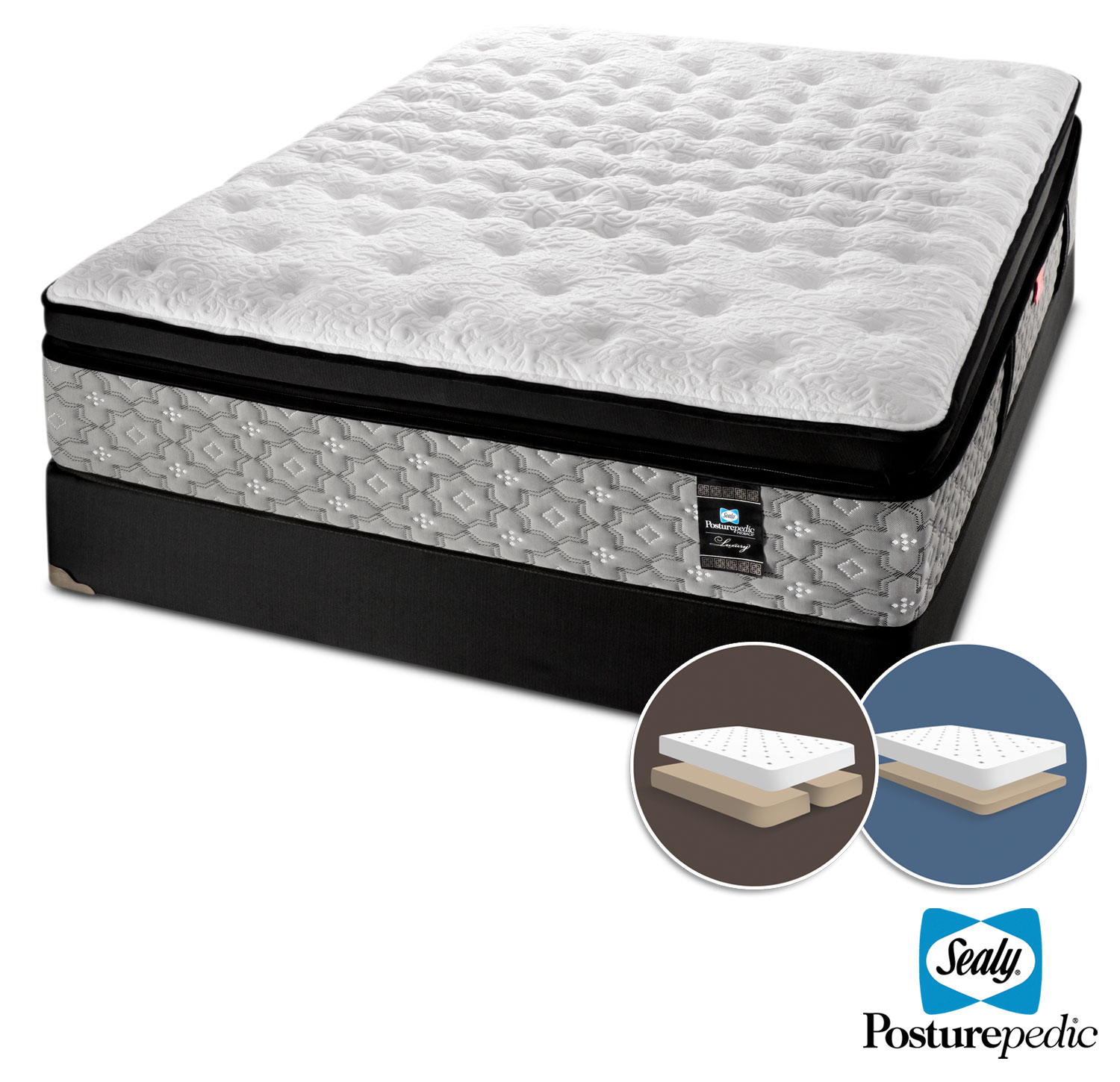 Mattresses and Bedding - Sealy Epic Plush Queen Mattress and Low-Profile Split Boxspring Set