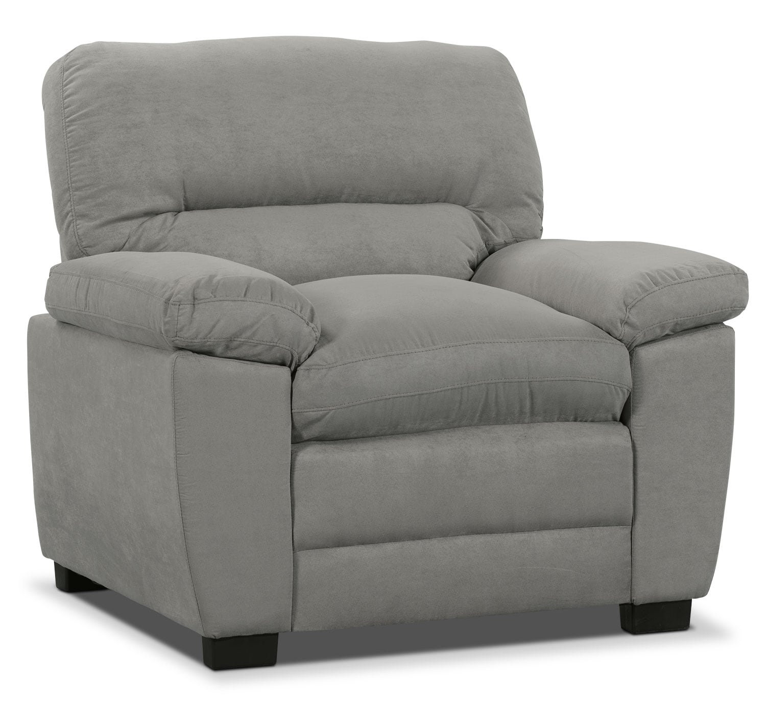 Living Room Furniture - Peyton Microsuede Chair - Grey