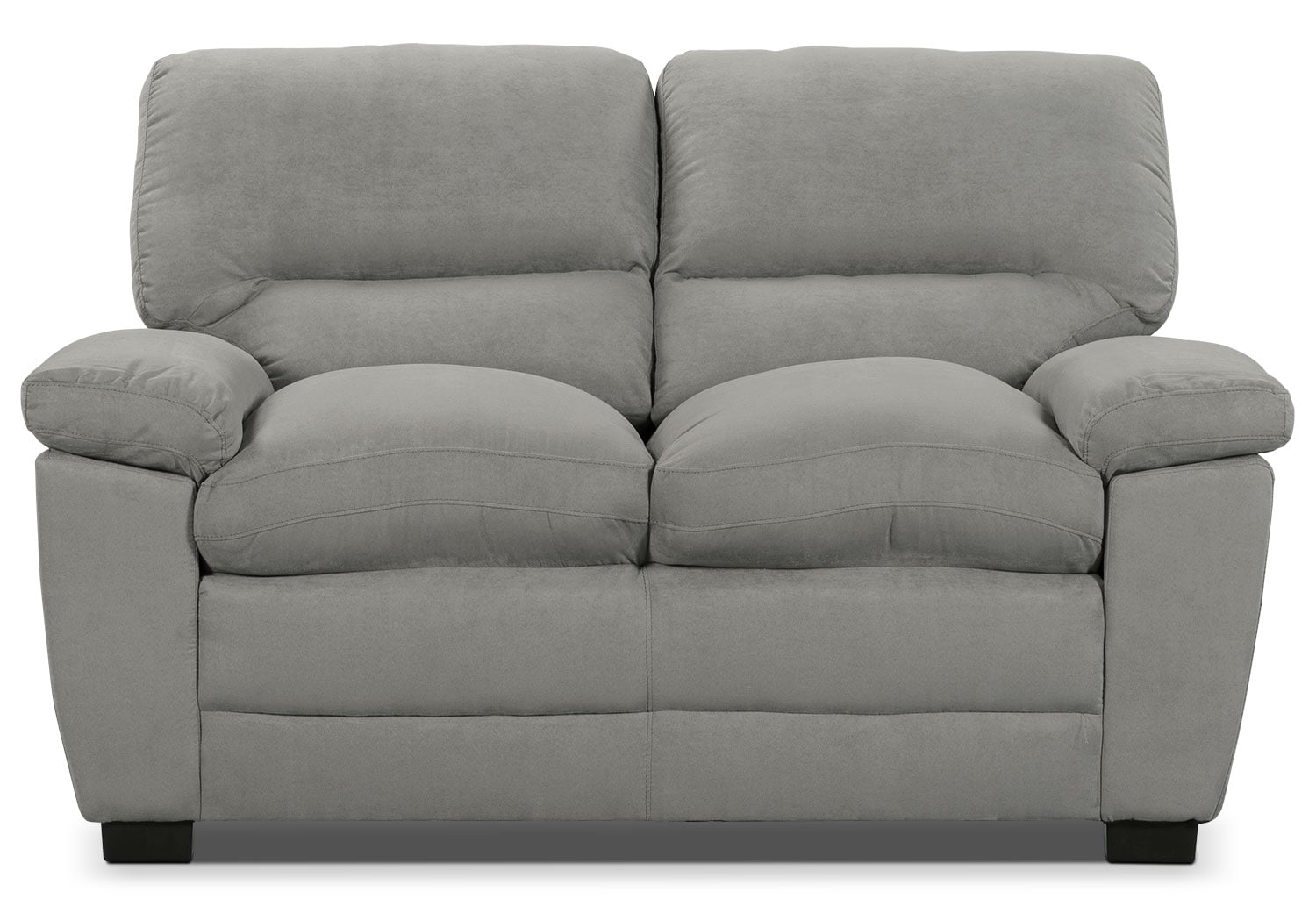 Peyton microsuede loveseat grey the brick for Microsuede living room furniture