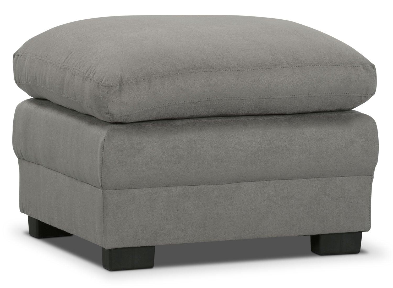 Peyton Microsuede Ottoman - Grey
