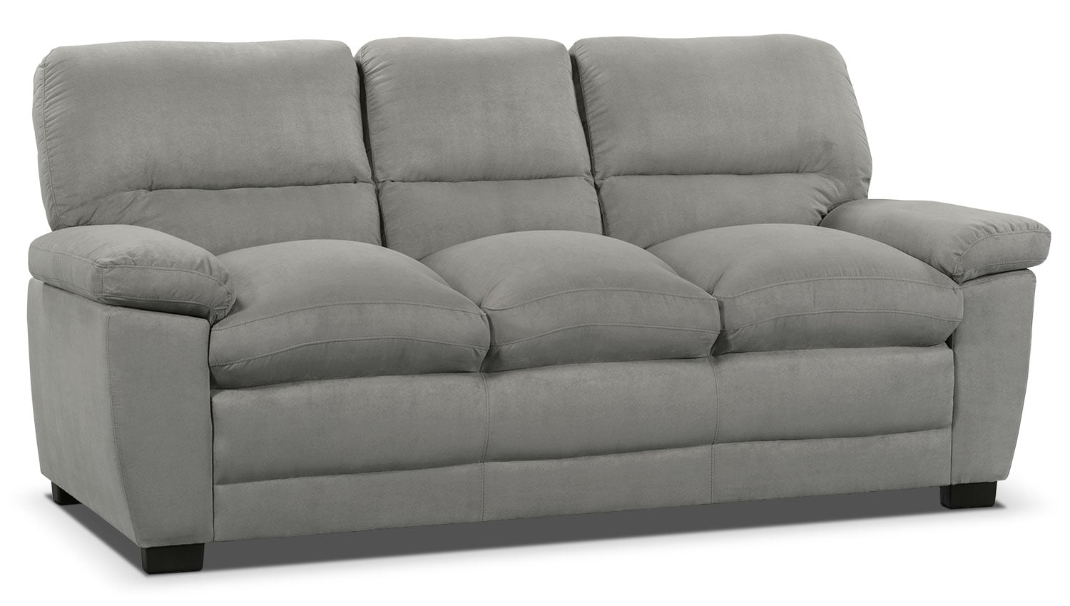 Peyton microsuede sofa grey the brick for Grey microsuede sectional sofa