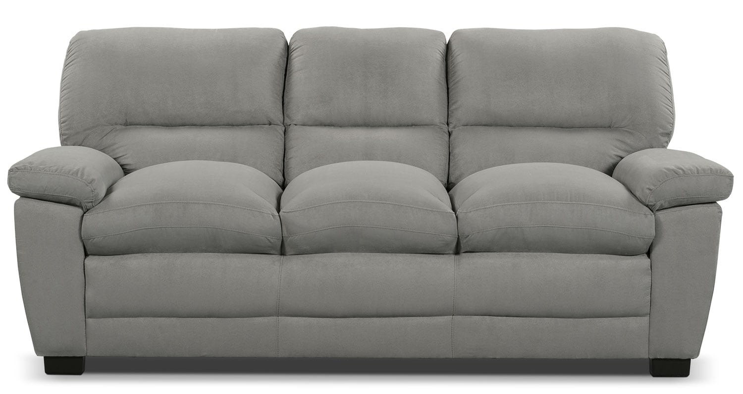 Living Room Furniture - Peyton Microsuede Sofa - Grey