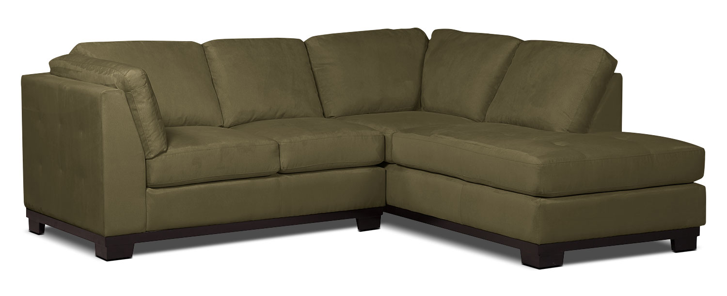Living Room Furniture - Oakdale 2-Piece Microsuede Right-Facing Sectional – Peat