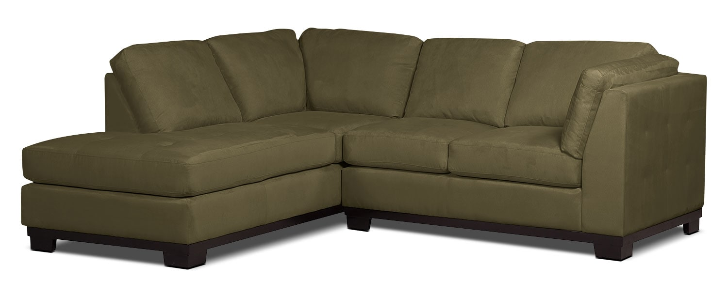 Living Room Furniture - Oakdale 2-Piece Microsuede Left-Facing Sectional – Peat