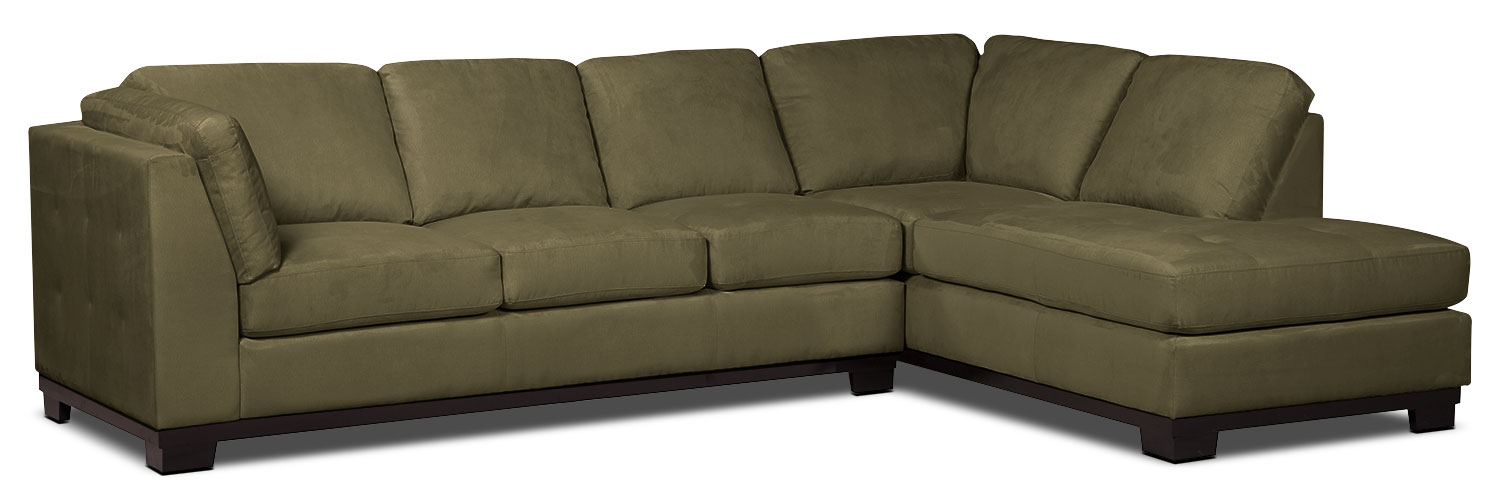 Living Room Furniture - Oakdale 2-Piece Microsuede Right-Facing Sectional with Sofa Bed – Peat