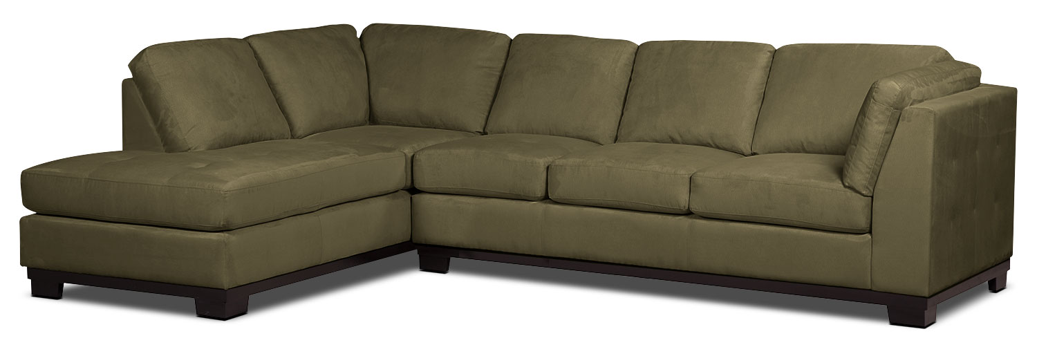 Living Room Furniture - Oakdale 2-Piece Microsuede Left-Facing Sectional with Sofa Bed – Peat