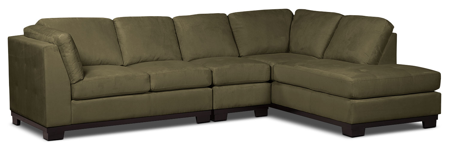 Living Room Furniture - Oakdale 3-Piece Microsuede Right-Facing Sectional – Peat