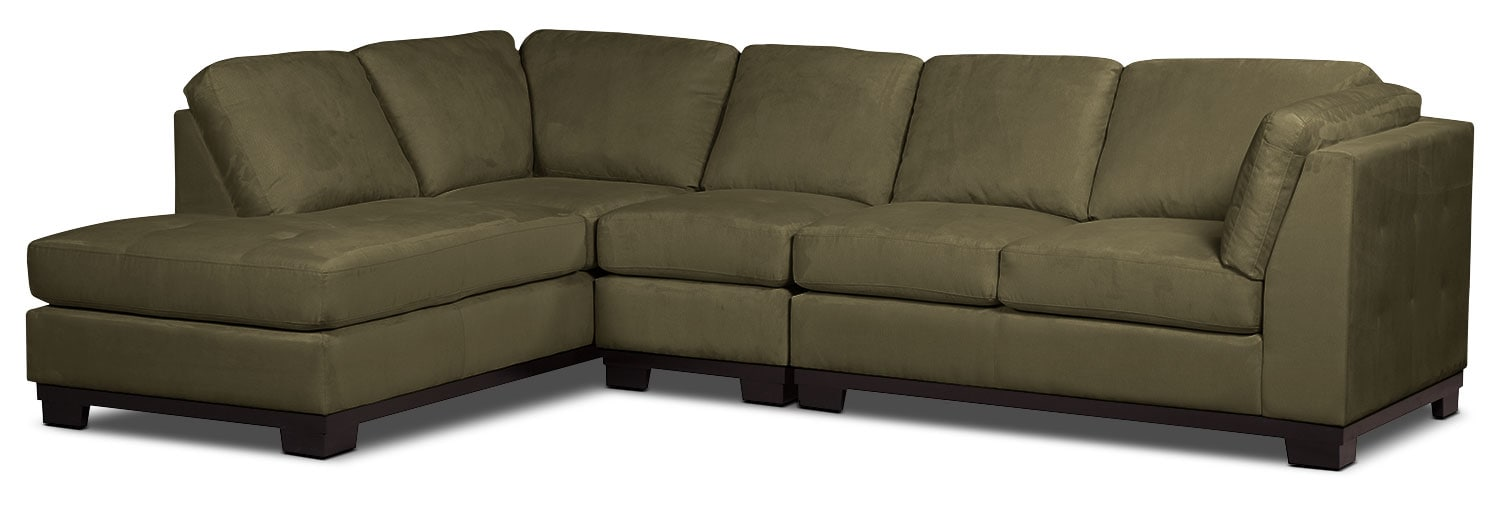 Living Room Furniture - Oakdale 3-Piece Microsuede Left-Facing Sectional – Peat