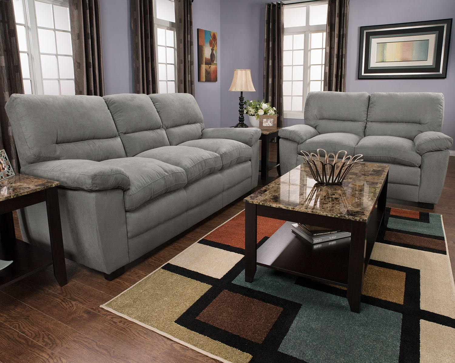 Peyton microsuede sofa grey united furniture warehouse for Grey microsuede sectional sofa