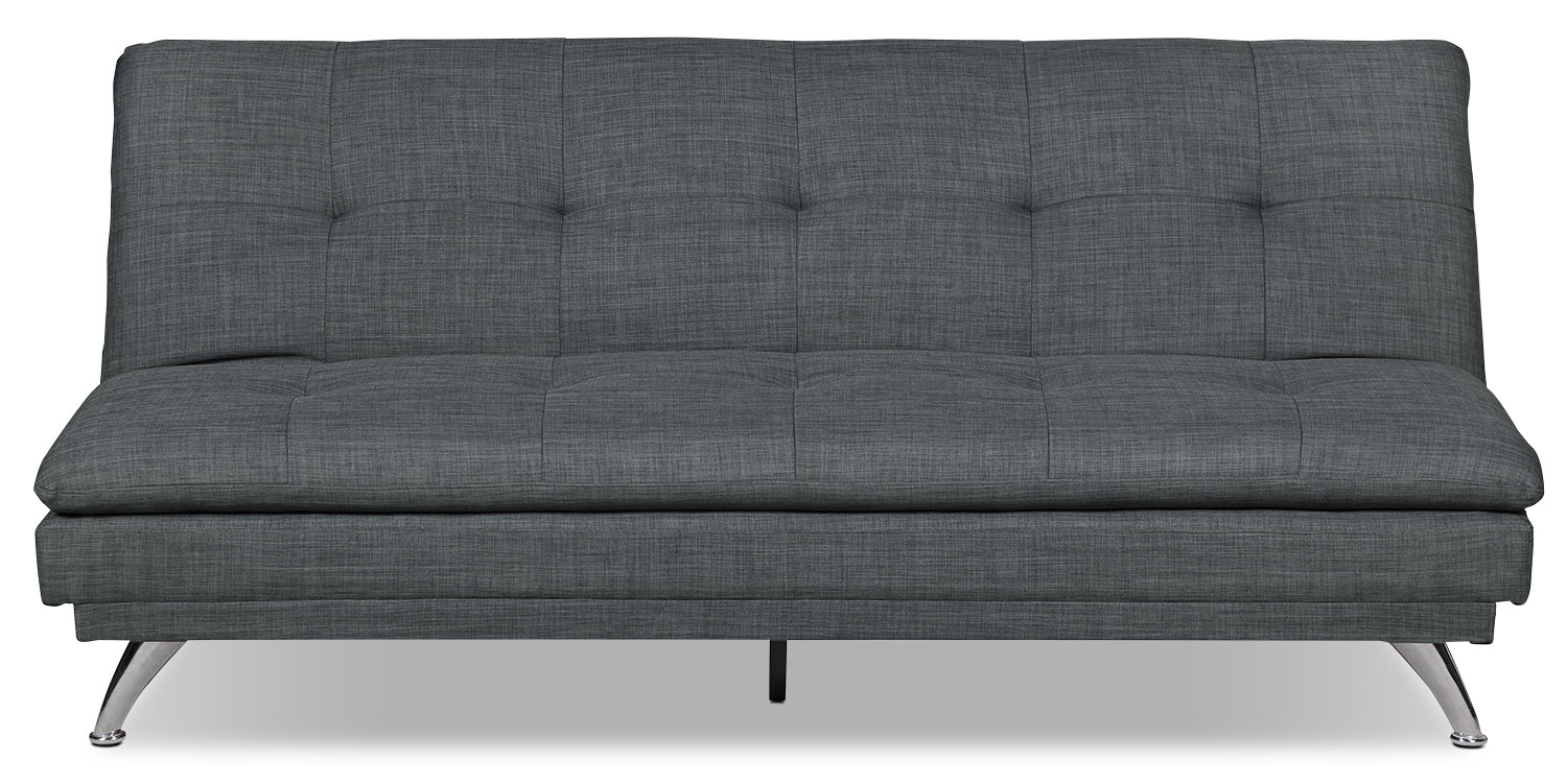 June Linen-Look Fabric Futon – Charcoal