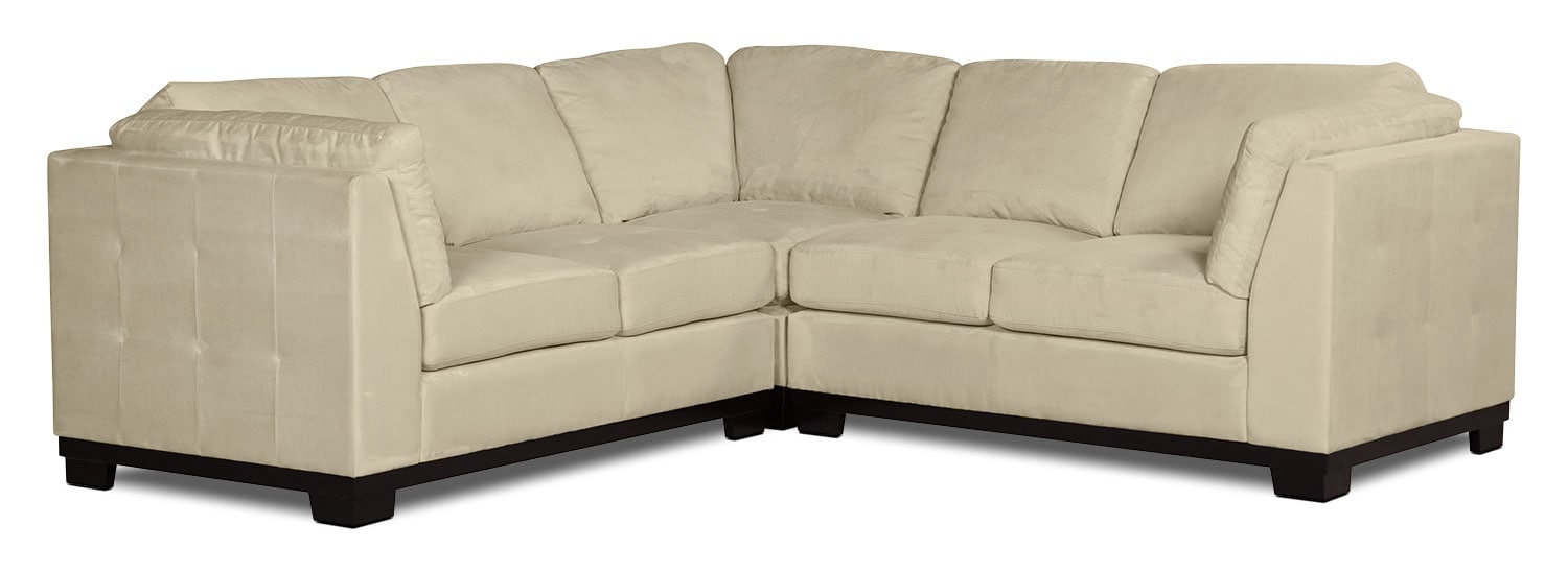 Living Room Furniture - Oakdale 3-Piece Microsuede Living Room Sectional – Mushroom