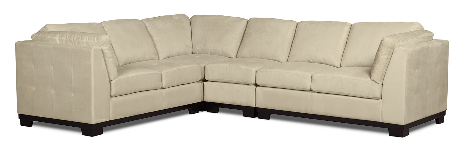 Living Room Furniture - Oakdale 4-Piece Microsuede Sectional – Mushroom