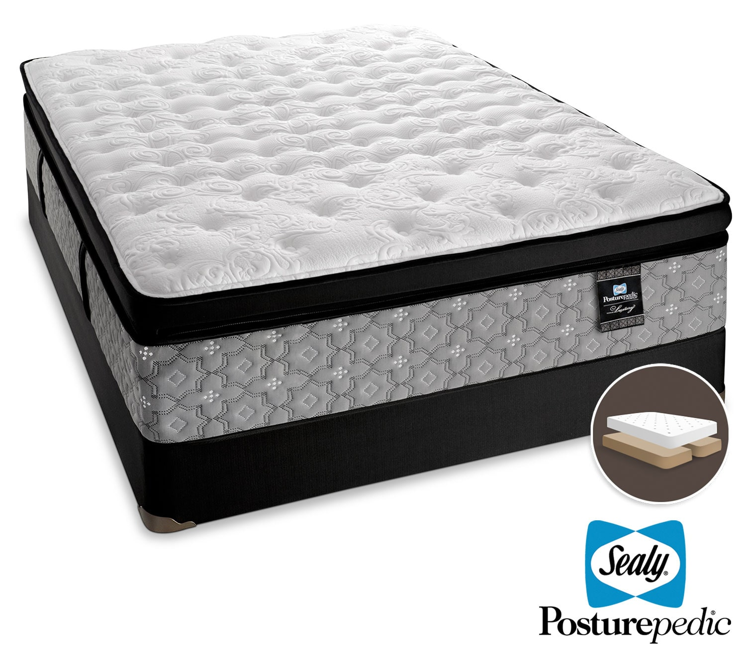 Sealy Spartacus Plush King Mattress and Split Boxspring Set