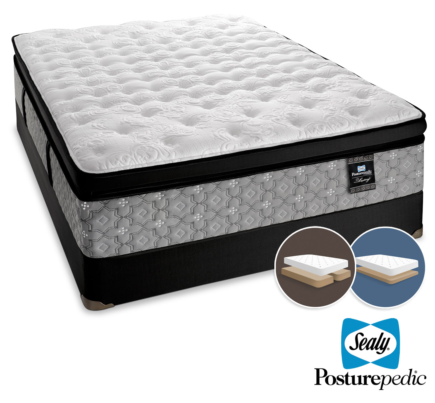 Mattresses and Bedding - Sealy Spartacus Plush King Mattress and Low-Profile Split Boxspring Set