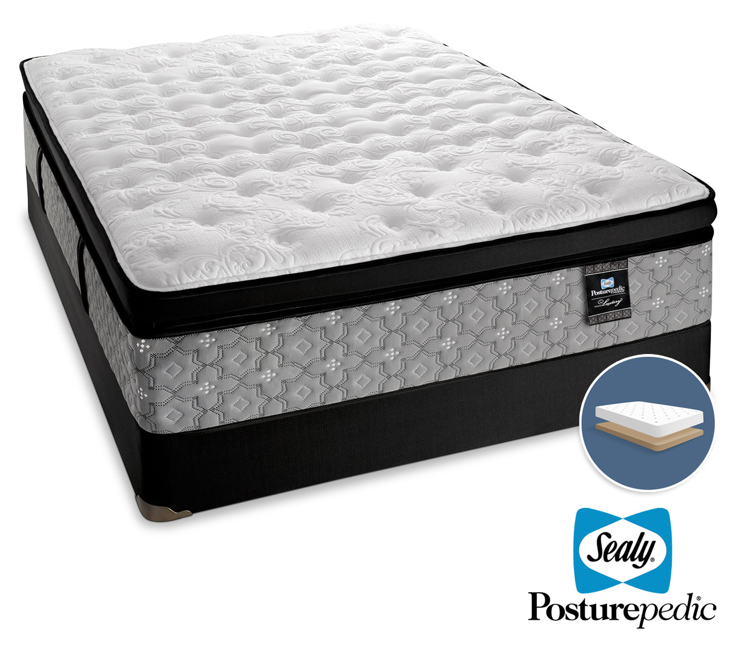 Sealy Spartacus Plush Queen Mattress and Low-Profile Boxspring Set