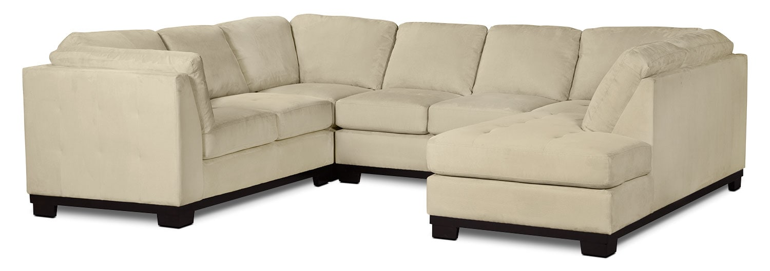 Living Room Furniture - Oakdale 4-Piece Microsuede Right-Facing Sectional – Mushroom