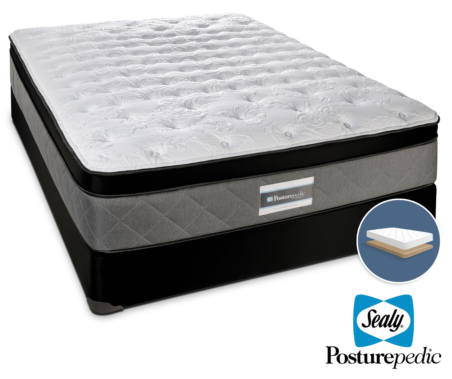 Mattresses and Bedding - Sealy Scripture Plush Queen Mattress and Low-Profile Boxspring Set