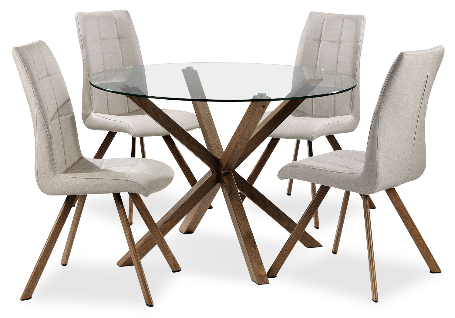 Casual Dining Room Furniture - Clearview 5-Piece Dinette Set - Clear/Sand