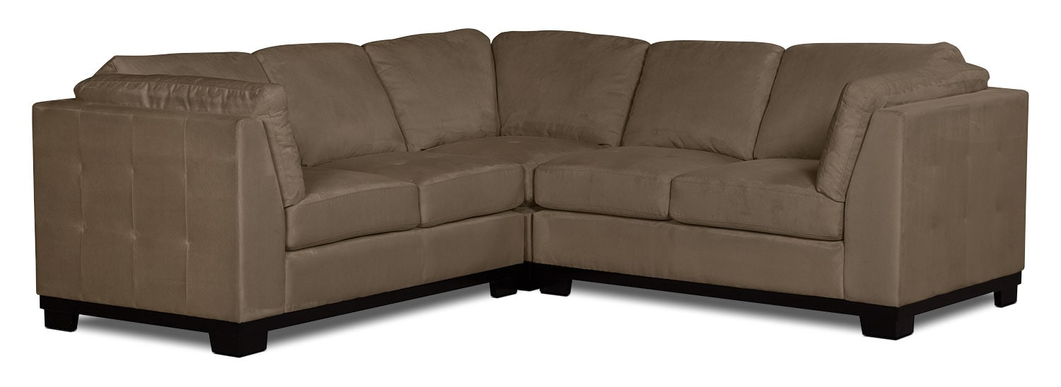 Oakdale 3-Piece Microsuede Living Room Sectional – Cocoa