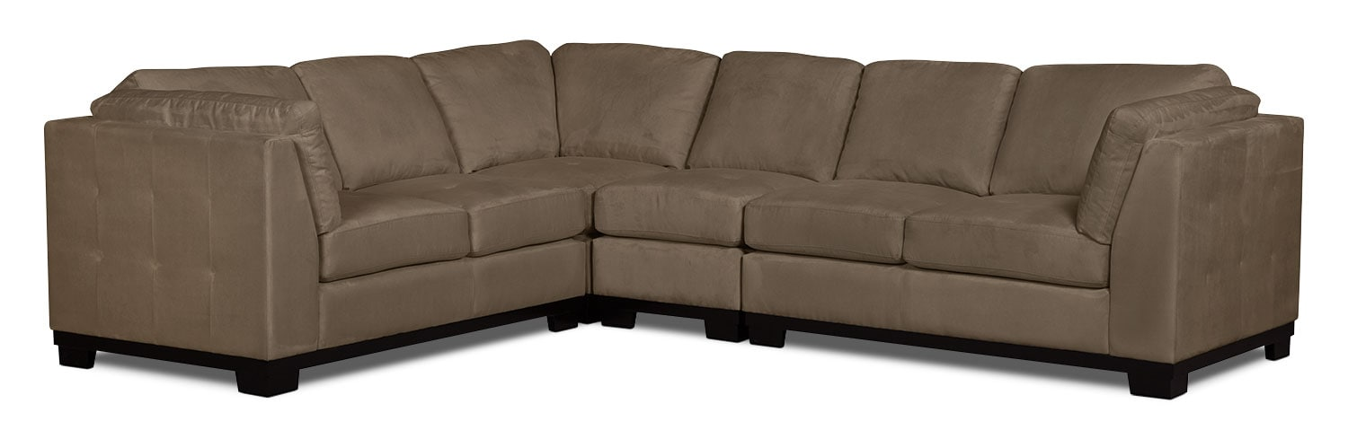 Oakdale 4 piece microsuede sectional cocoa the brick for Microsuede living room furniture