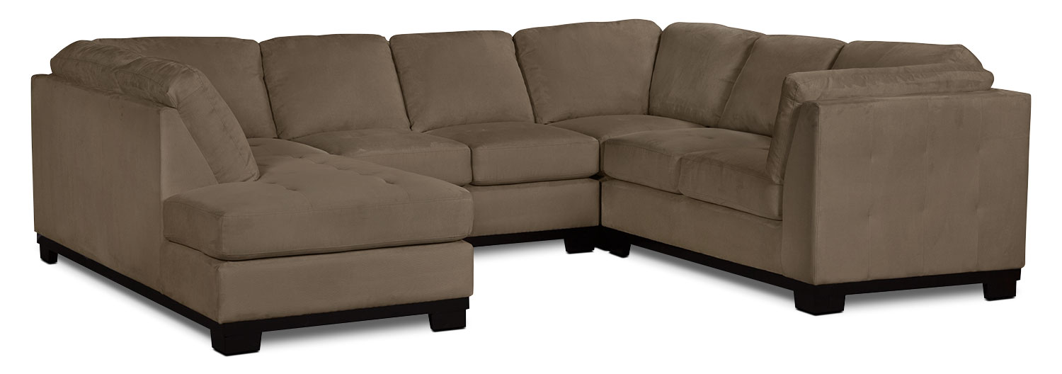 Living Room Furniture - Oakdale 4-Piece Microsuede Left-Facing Sectional – Cocoa
