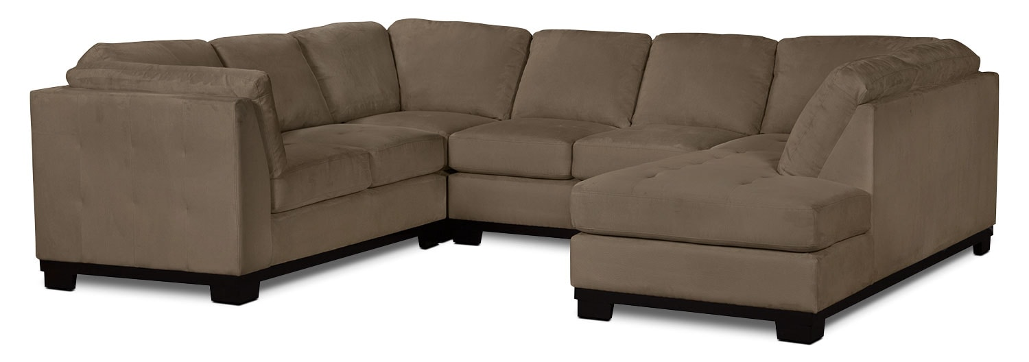 Oakdale 4-Piece Microsuede Right-Facing Sectional – Cocoa