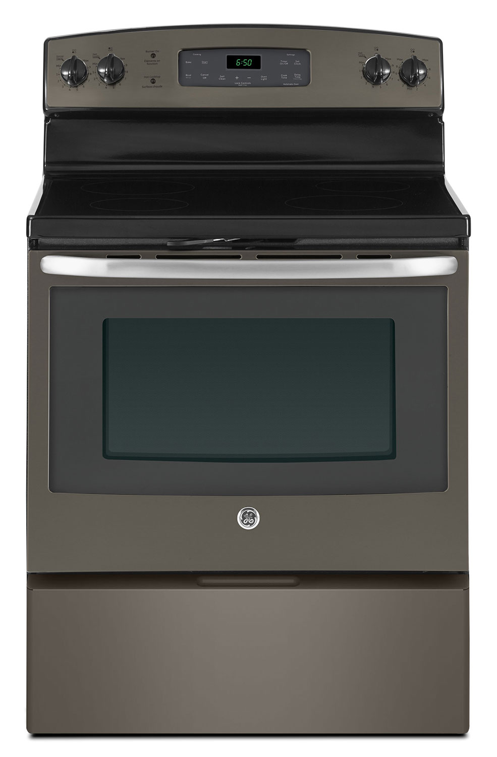 Cooking Products - GE 5.0 Cu. Ft. Freestanding Smooth Top Electric Range - Slate