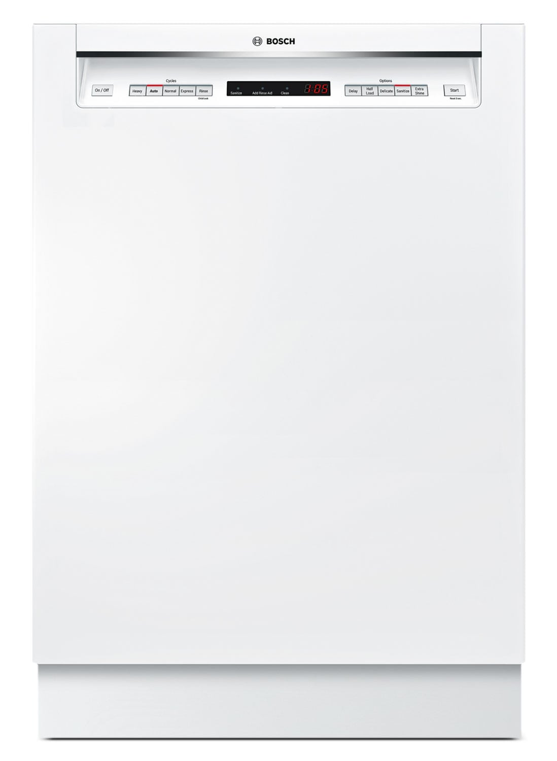 """Clean-Up - Bosch 500 Series 24"""" Recessed Handle Dishwasher - White"""