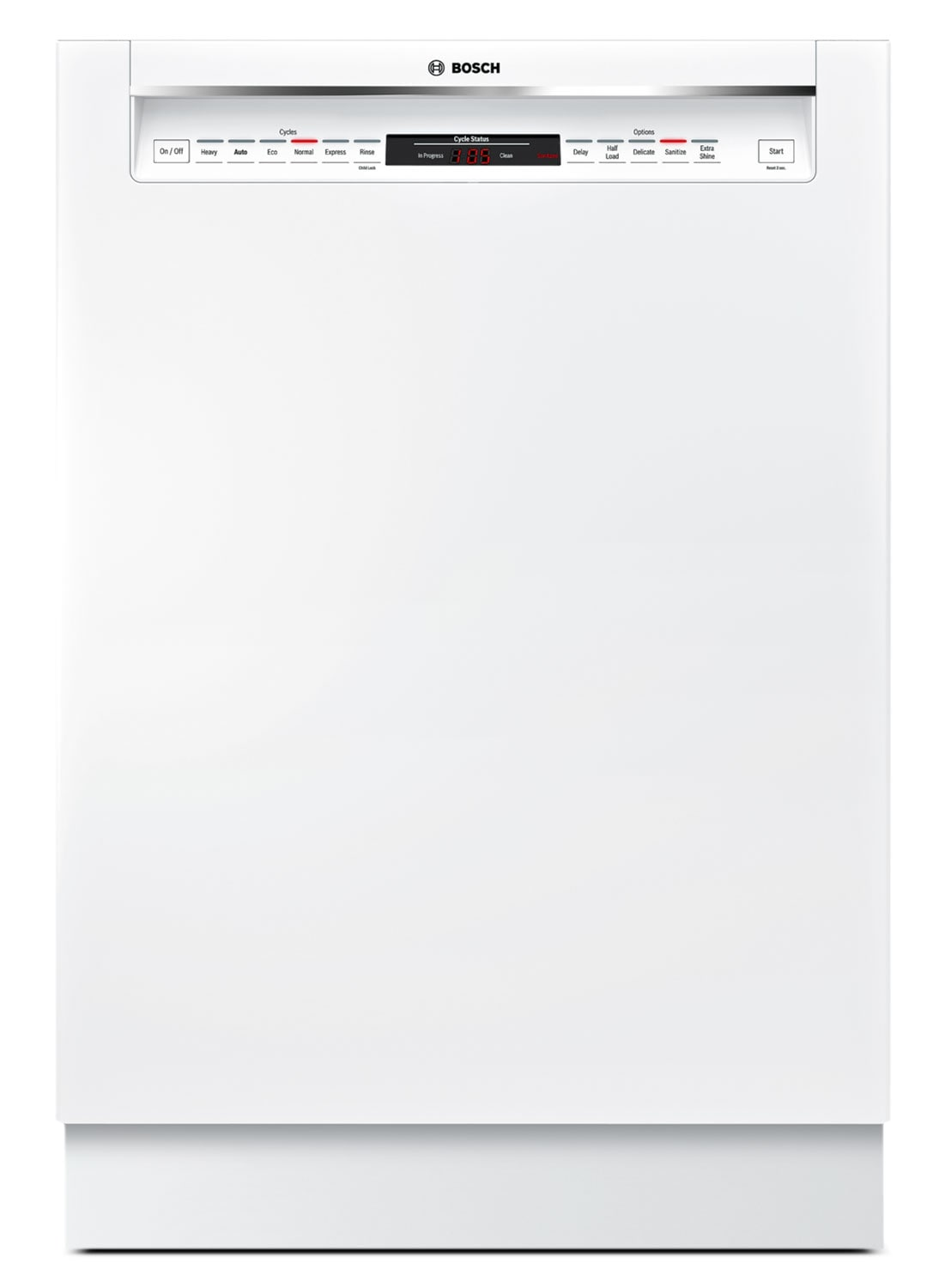 """Bosch 800 Series 24"""" Recessed Handle Built-In Dishwasher – SHE68T52UC"""