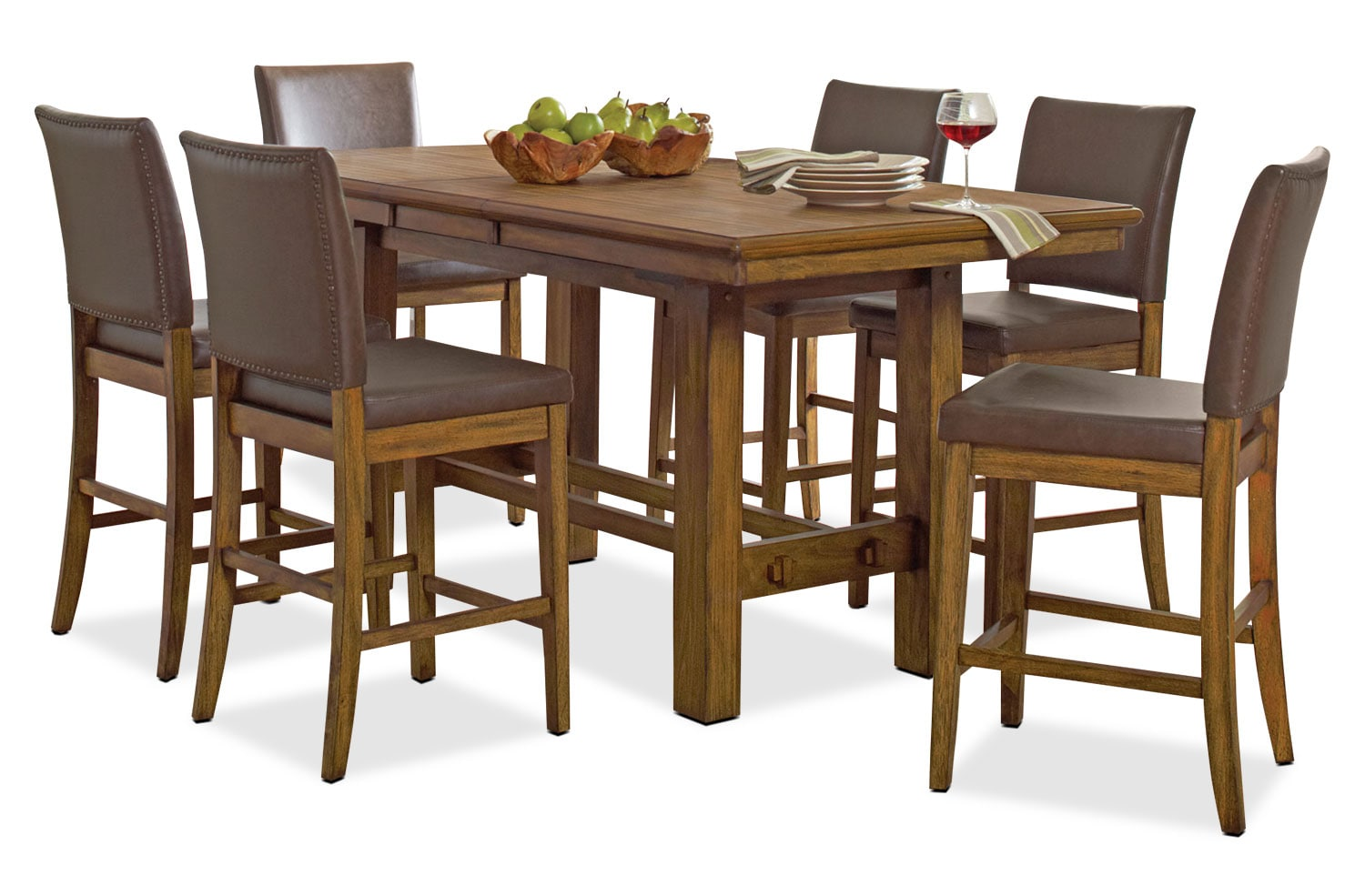 Dining Room Furniture - Aiko 7-Piece Counter-Height Dining Package
