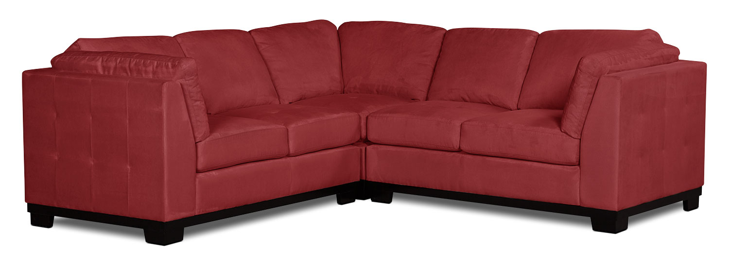 Living Room Furniture - Oakdale 3-Piece Microsuede Living Room Sectional – Red