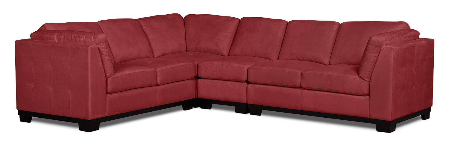 Living Room Furniture - Oakdale 4-Piece Microsuede Sectional – Red