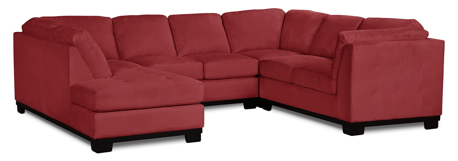 Oakdale 4-Piece Microsuede Left-Facing Sectional – Red