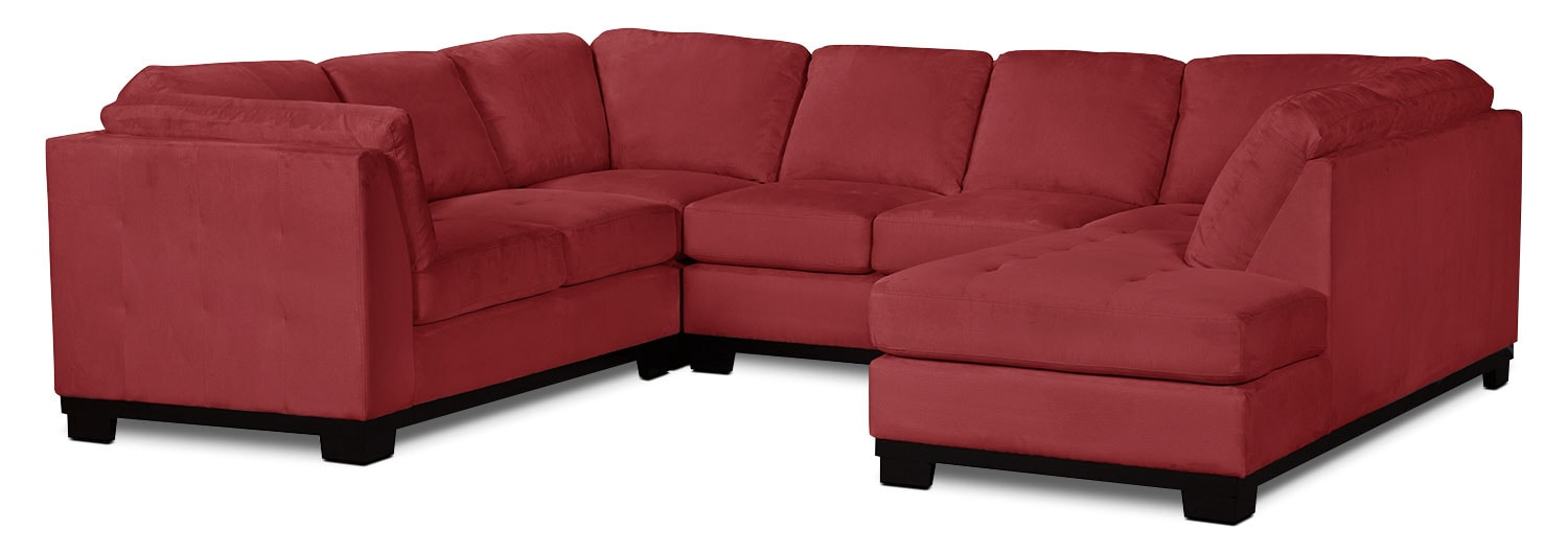Living Room Furniture - Oakdale 4-Piece Microsuede Right-Facing Sectional – Red