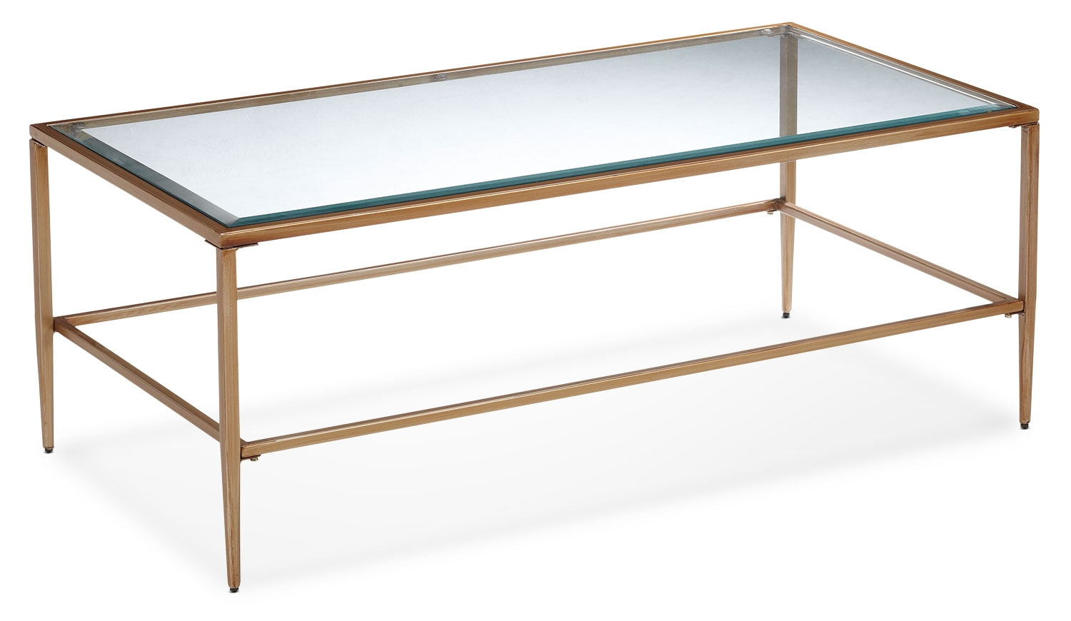 Accent and Occasional Furniture - Harlan Coffee Table - Glass and Gold