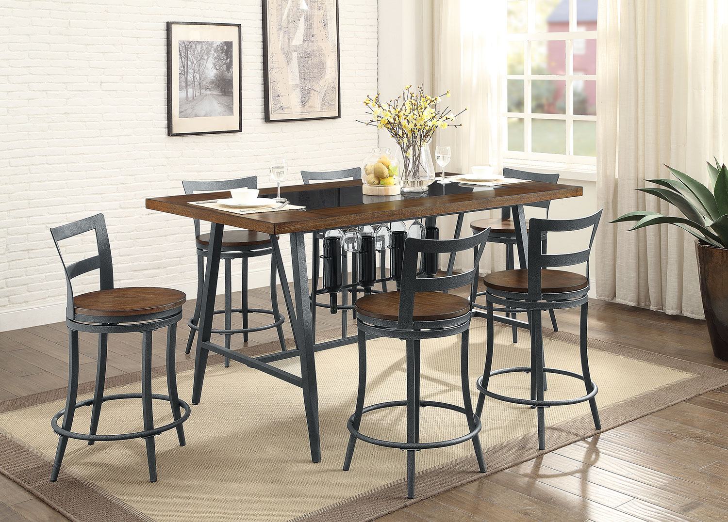 Nolita counter height dining table the brick - Height dining room table ...