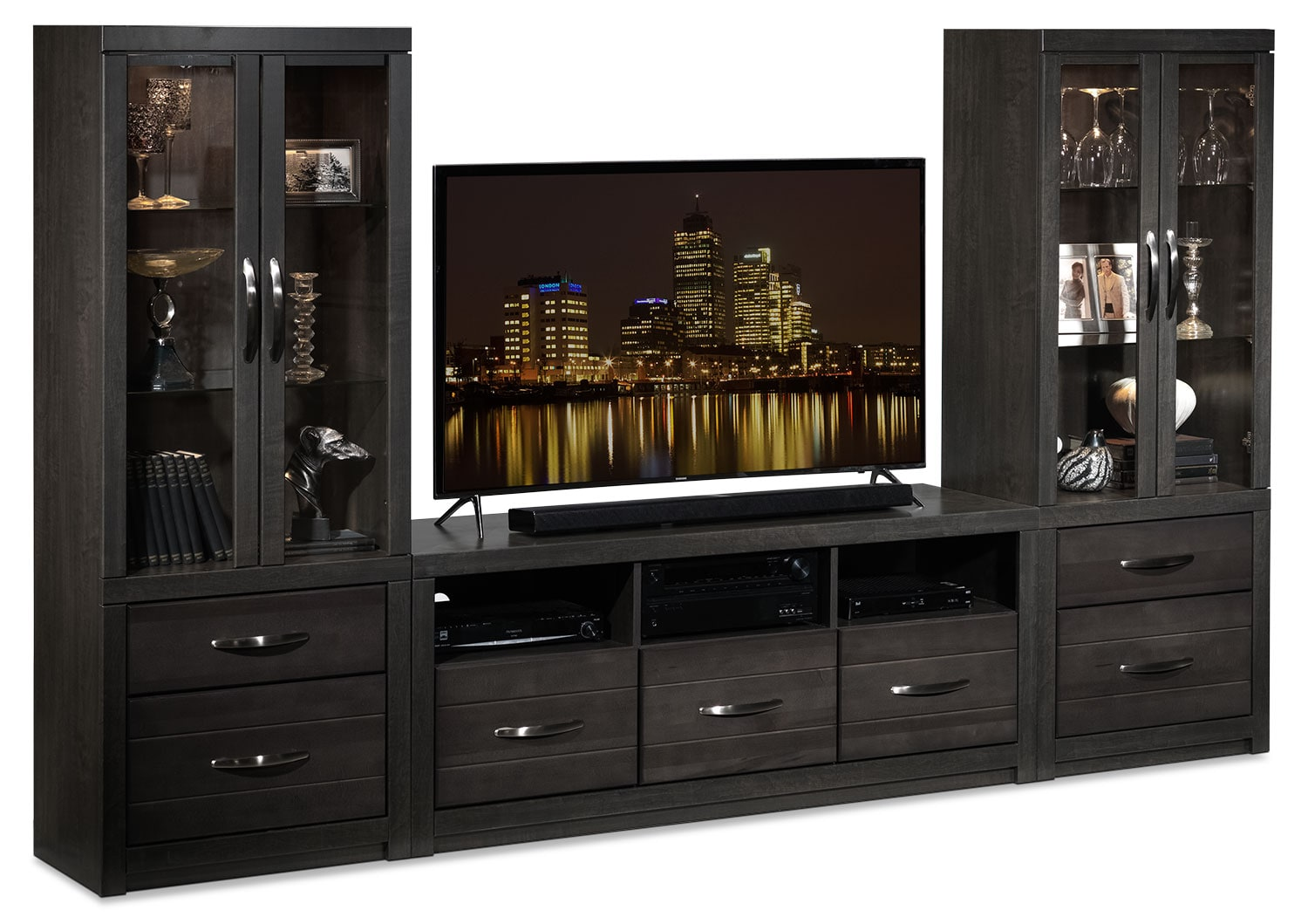 Exeter 3 piece entertainment wall unit charcoal leon 39 s Wall unit furniture