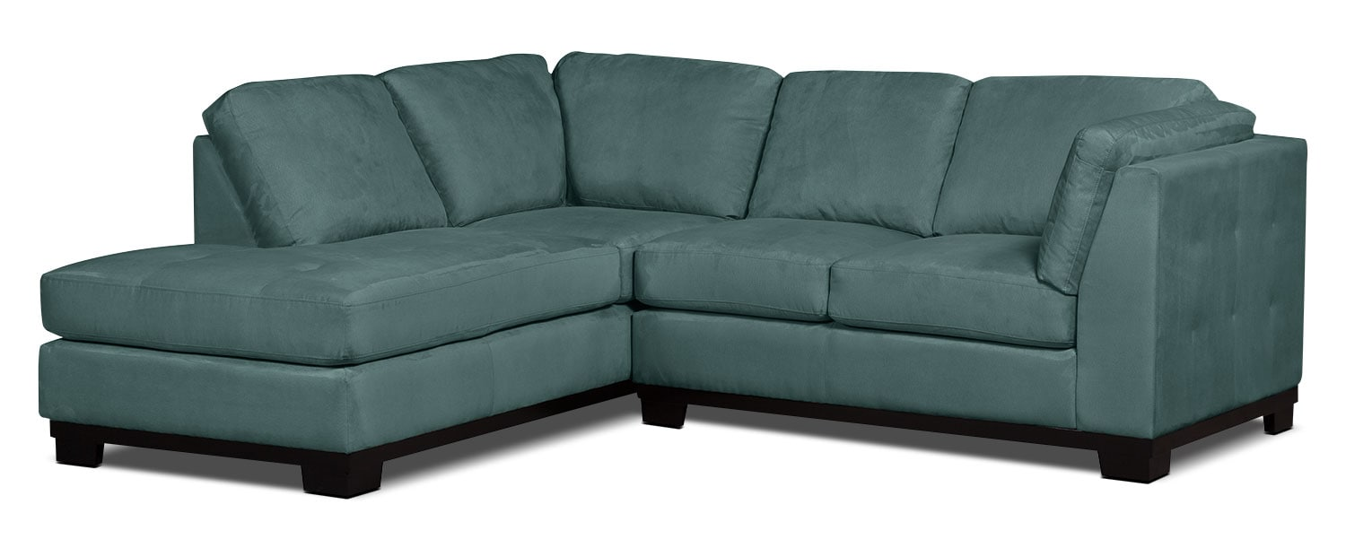 Oakdale 2-Piece Microsuede Left-Facing Sectional – Azure