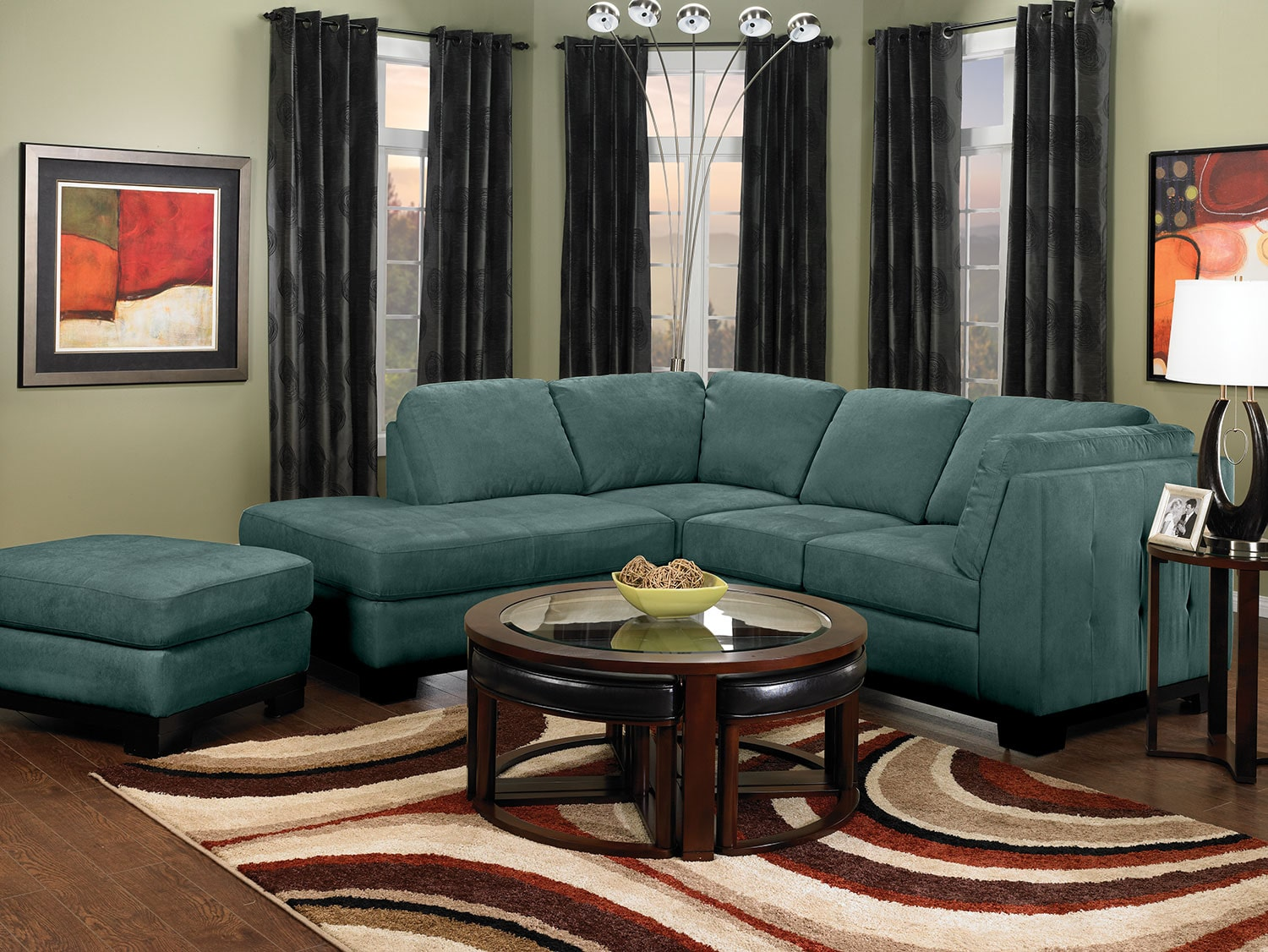 Oakdale 2 piece microsuede left facing sectional azure for Microsuede living room furniture
