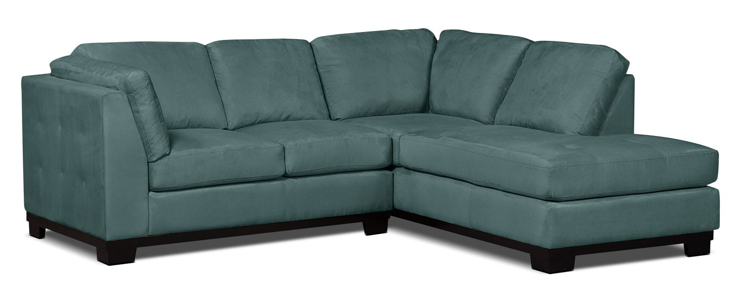 Oakdale 2-Piece Microsuede Right-Facing Sectional – Azure
