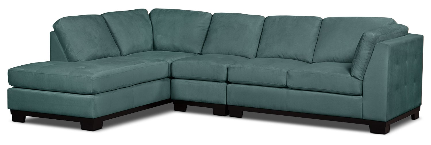Living Room Furniture - Oakdale 3-Piece Microsuede Left-Facing Sectional – Azure