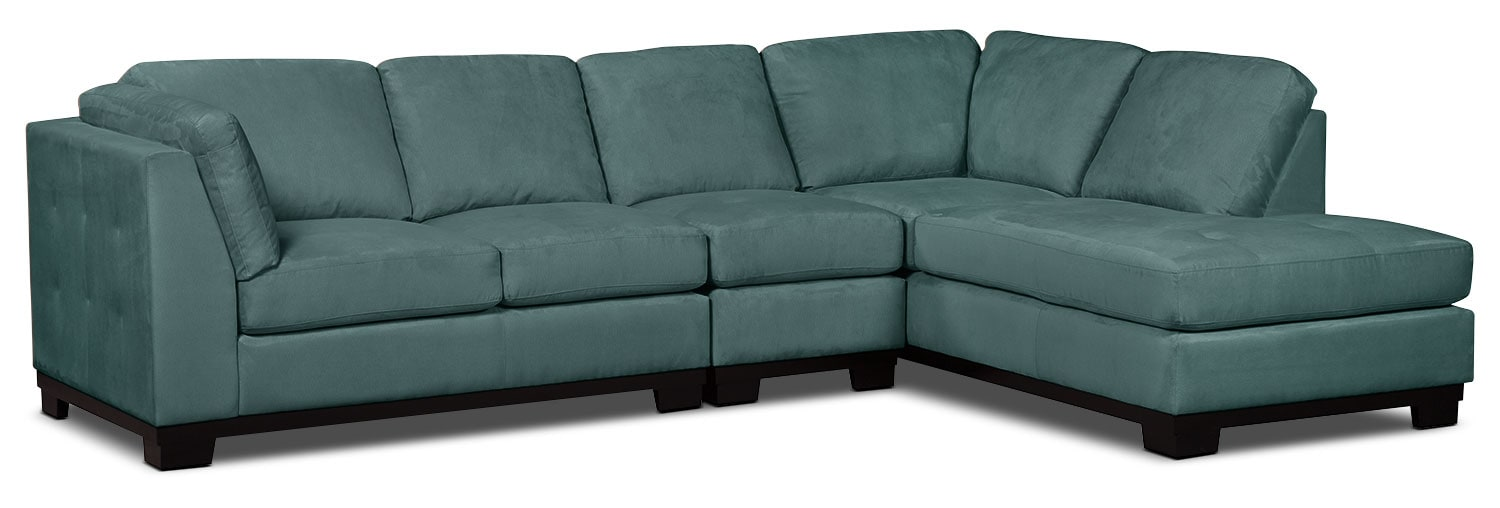 Oakdale 3-Piece Microsuede Right-Facing Sectional – Azure