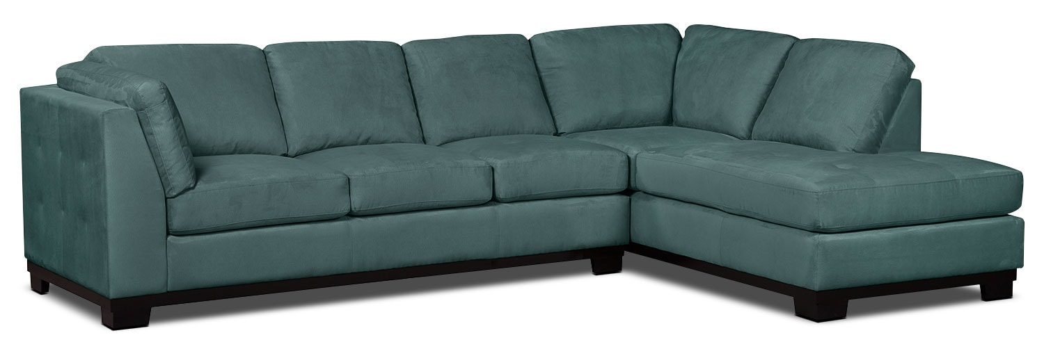 Living Room Furniture - Oakdale 2-Piece Microsuede Right-Facing Sectional with Sofa Bed – Azure