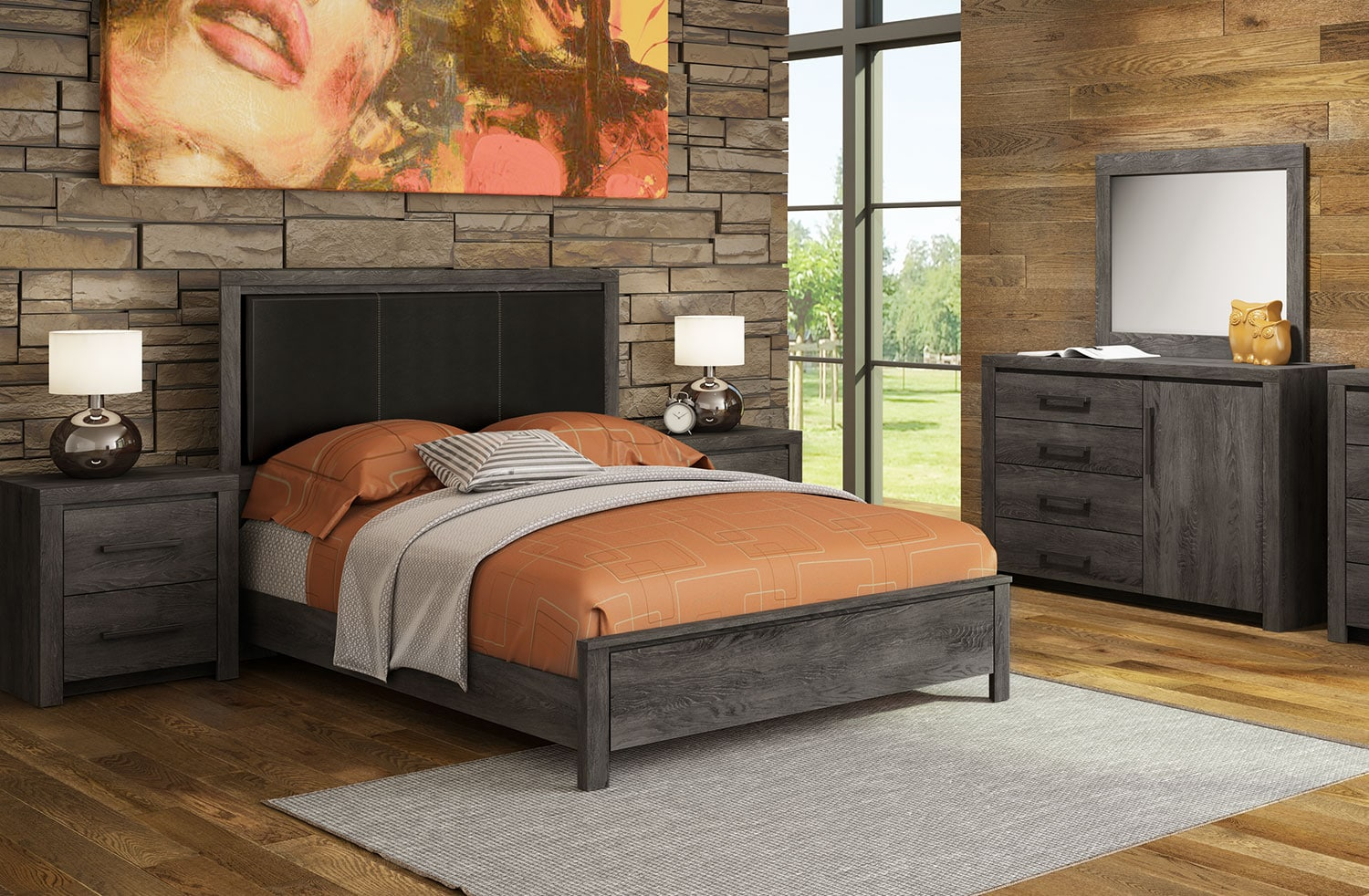 Driftwood 5-Piece King Bedroom Set - Rustic Brown