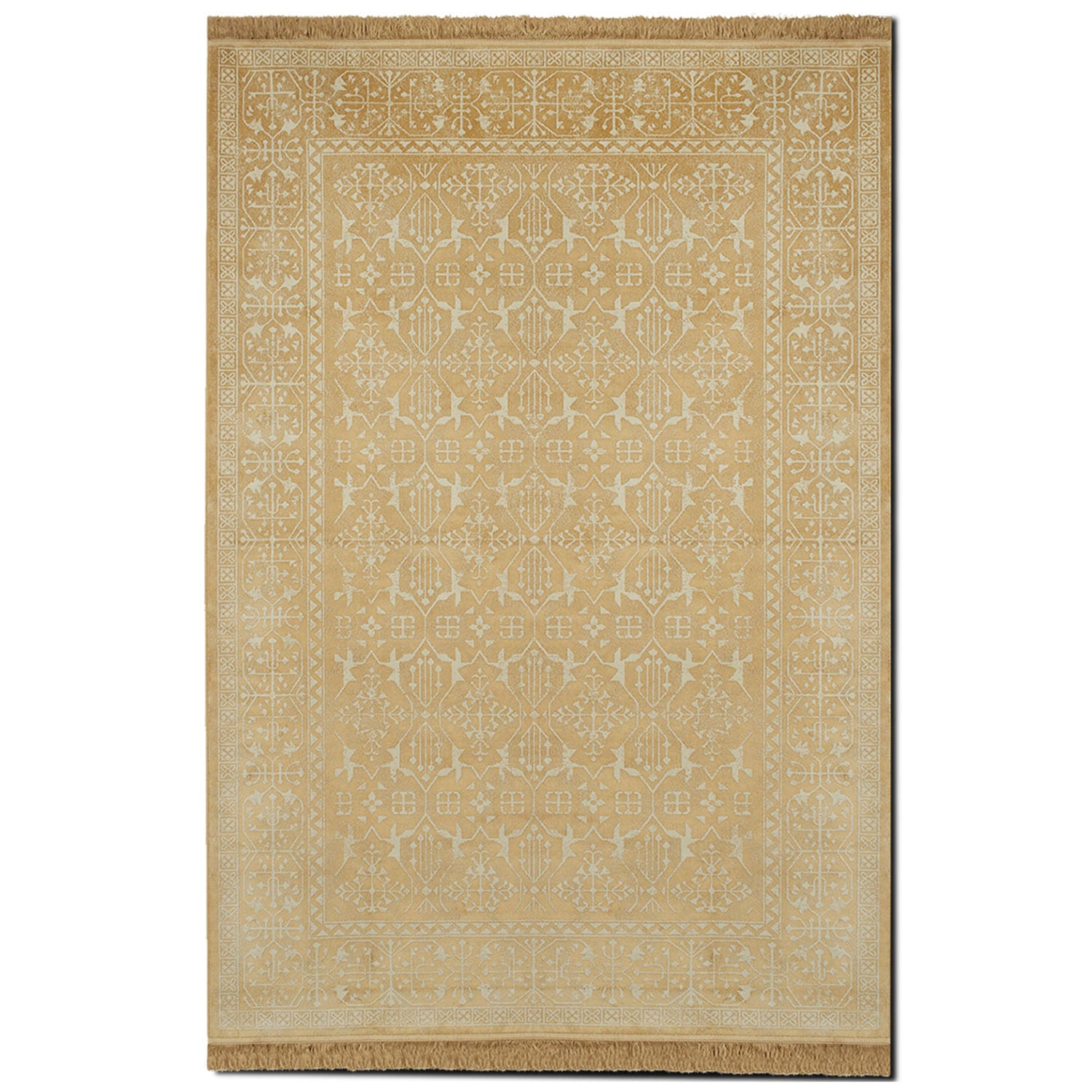 sonoma 5 39 x 8 39 area rug yellow and white value city furniture. Black Bedroom Furniture Sets. Home Design Ideas