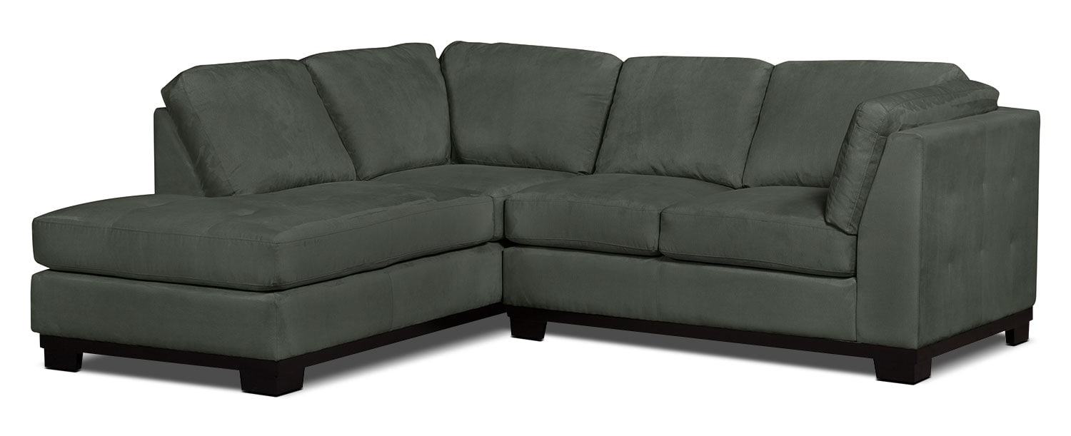 Living Room Furniture - Oakdale 2-Piece Microsuede Left-Facing Sectional – Grey