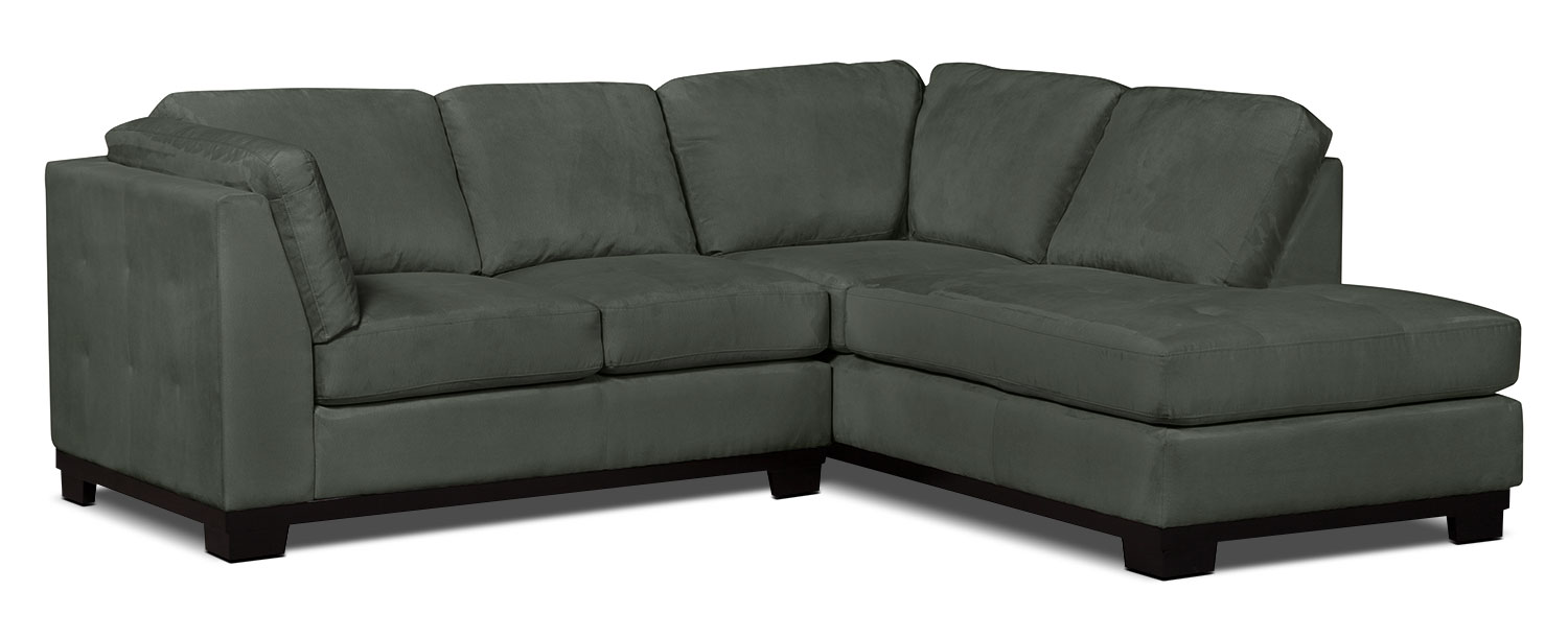 Living Room Furniture - Oakdale 2-Piece Microsuede Right-Facing Sectional – Grey