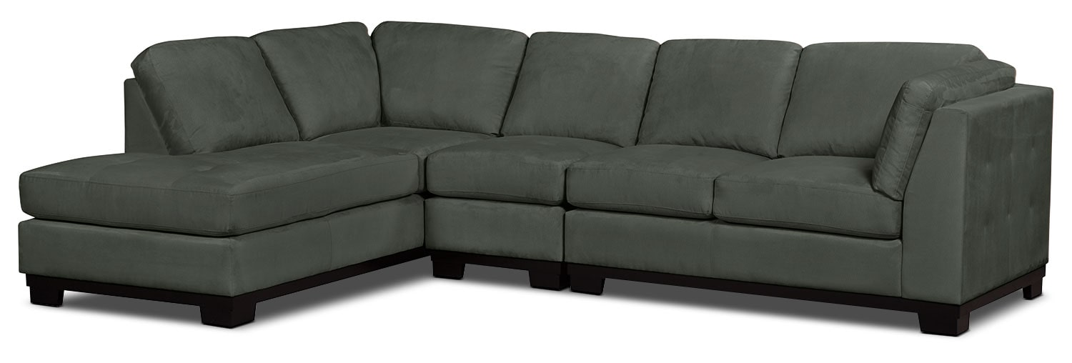 Living Room Furniture - Oakdale 3-Piece Microsuede Left-Facing Sectional – Grey